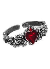 Alchemy Gothic Betrothal Enamel Heart Pewter Bracelet