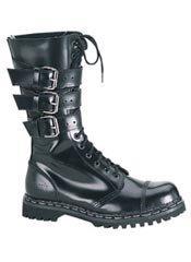 GRAVEL-14 Black Leather Demonia Boots