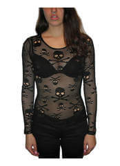 Skull Black Net Shirt