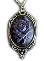 Victorian Rose Cameo Purple Pendant