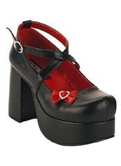 ABBEY-03 Black Red Shoes