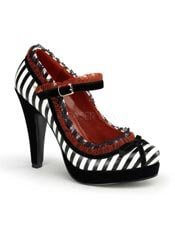 BETTIE-18 Stripe Ruffle Heels