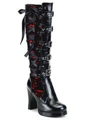 CRYPTO-106 Black Red Boots