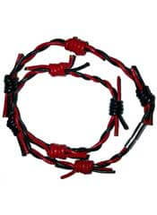 Red Black Barbed Wire Leather Wristband