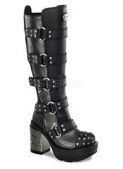 SINISTER-302 Chromed Studded Boots