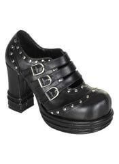 VAMPIRE-08 Buckle Strap Studded Shoes