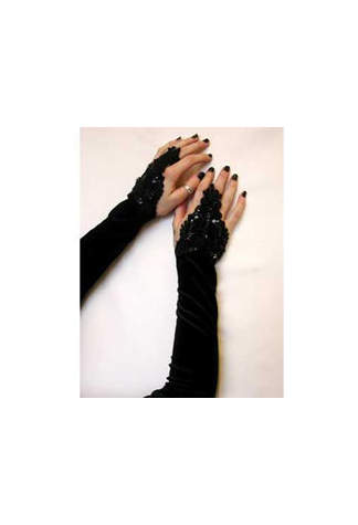 Velvet Long Lolita Gloves Black