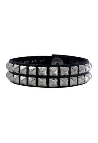 80 - Black Leather Wristband