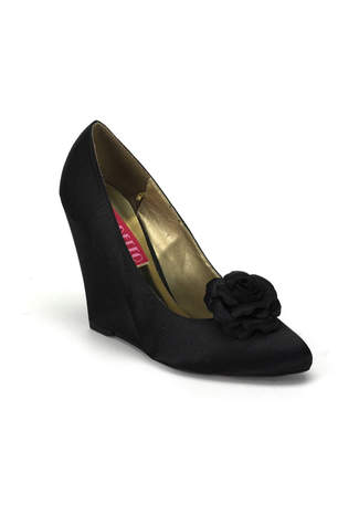 CAMILLE-01 Black Satin Wedges