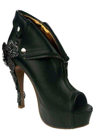 DORGU Black Zipper Heels