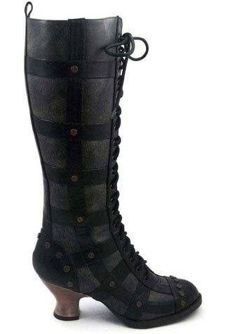 DOME Black Steampunk Boots