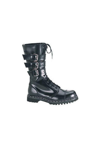 GRAVEL-14 Black Leather Demonia Boots