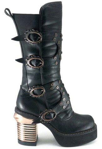 HARAJUKU Black Steampunk Boots