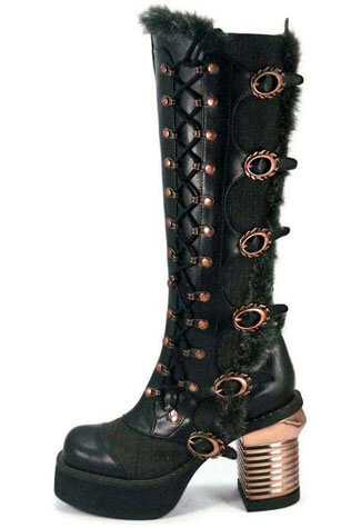 LANGDON Black Steampunk Boots