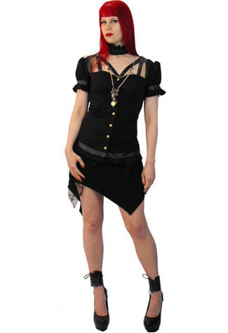 Iris Black Steampunk Top - Clearance