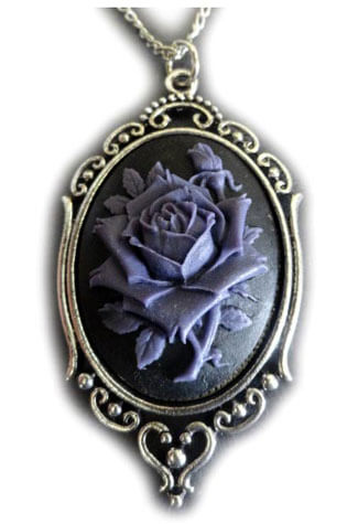 Victorian Rose Cameo Purple Pendant