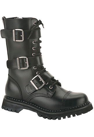 RIOT-12 Black Leather Boots