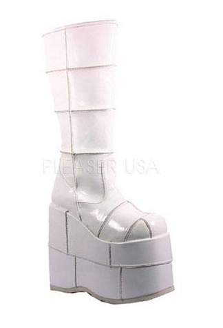 STACK-301 White Patent Boots - Clearance