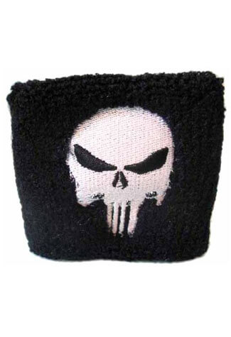 Black and White Punisher Wristband