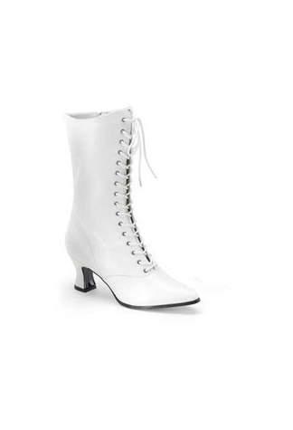 VICTORIAN-120 White Victorian Boots