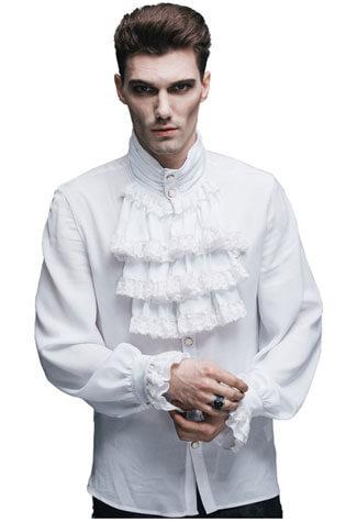 Ash Mens White Ruffle Shirt