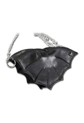 Bat Black Leather Purse