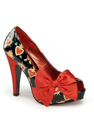 BETTIE-13 Pinup Heart Heels