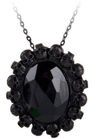 Black Stone Skull Cameo Necklace
