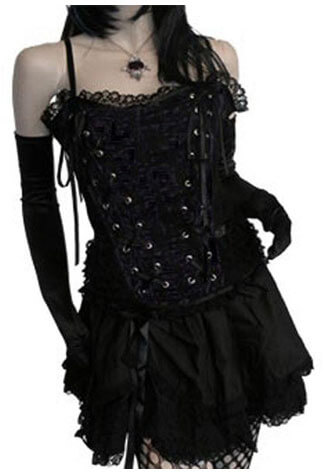 Tabatha Gothic Corset Satin Panel Black