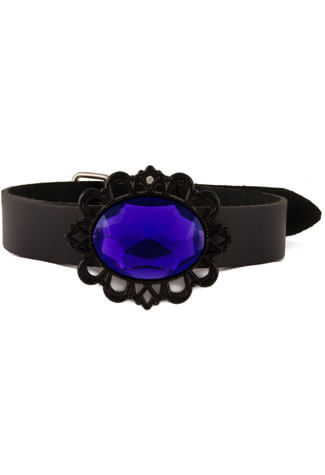 Blue Black Filigree Choker