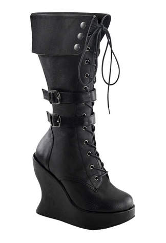 BRAVO-114 Buckle Wedge Boots - Clearance