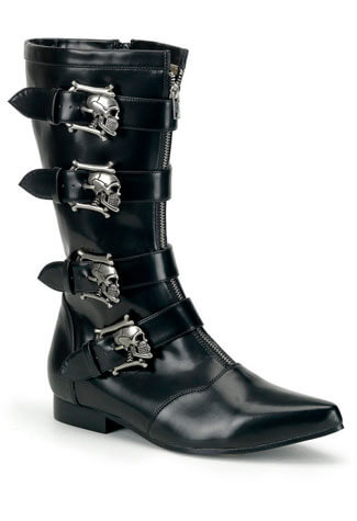 BROGUE-107 Black Skull Buckle Boots