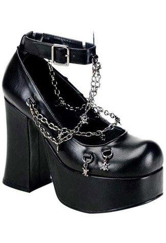 CHARADE-28 Strap Chain Heels