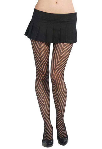 Chevron Pantyhose Black