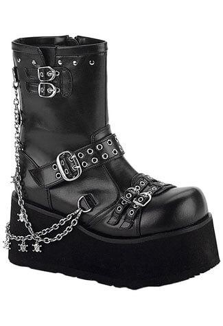 CLASH-430 Black Chain Boots