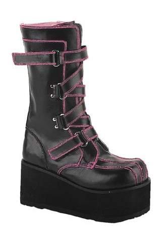 CLASH-435 Black Zigzag Boots