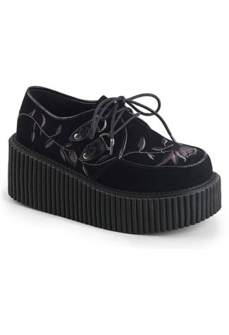 Creeper-219 Velvet Embroidered Creeper Shoes