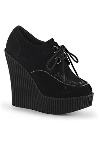 CREEPER-302 Black Vegan Wedges