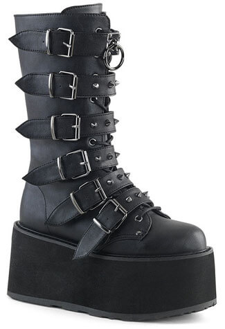 DAMNED-225 Black Vegan Leather Platform Boots