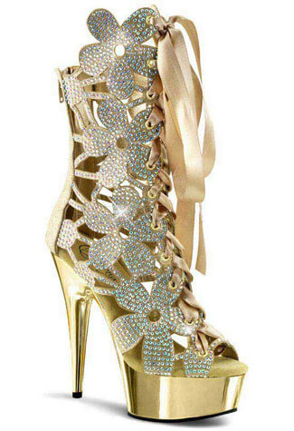 DELIGHT-600-36 Gold Rhinestone Boots