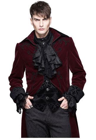 Devil Fashion Mens Red Velvet Tailcoat
