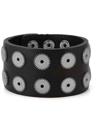 Black Leather 14 Riveted Cogs Wristband