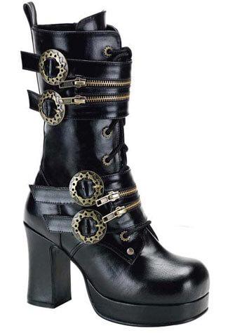 GOTHIKA-100 Black Steampunk Boots