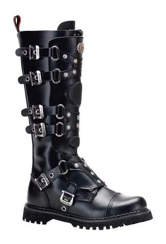 GRAVEL-22 Black Leather Boots - Clearance