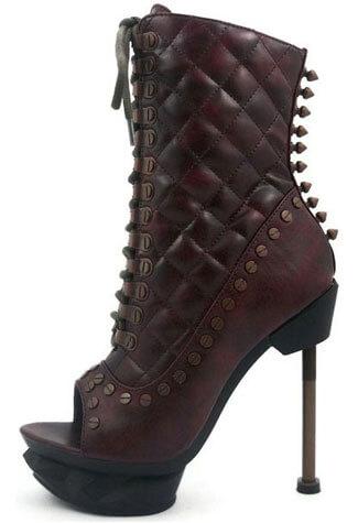 IXX  Burgundy Steampunk Boots
