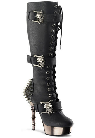 MUERTO-2028 Black Stiletto Boots