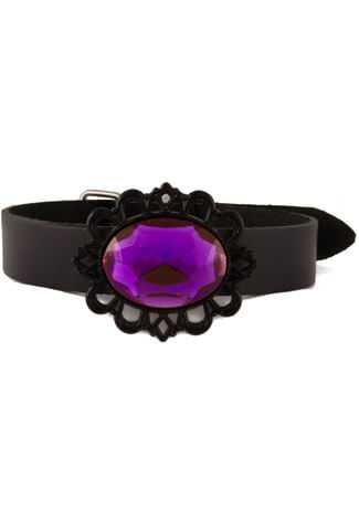 Purple Black Filigree Choker