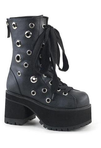 RANGER-310 black platform boots with grommets