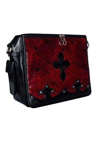 Red Cobweb Messenger Laptop Bag