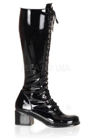 RETRO-302 Black Patent Boots
